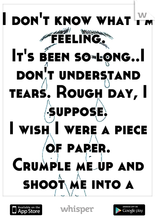 I don't know what I'm feeling.  It's been so long..I don't understand tears. Rough day, I suppose. I wish I were a piece of paper.  Crumple me up and shoot me into a furnace, please.