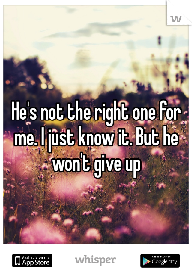 He's not the right one for me. I just know it. But he won't give up