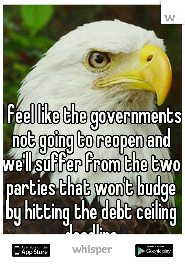 I feel like the governments not going to reopen and we'll suffer from the two parties that won't budge by hitting the debt ceiling deadline