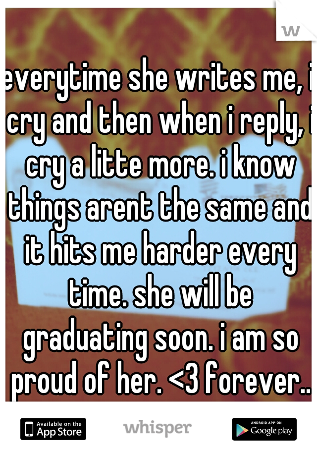 everytime she writes me, i cry and then when i reply, i cry a litte more. i know things arent the same and it hits me harder every time. she will be graduating soon. i am so proud of her. <3 forever..