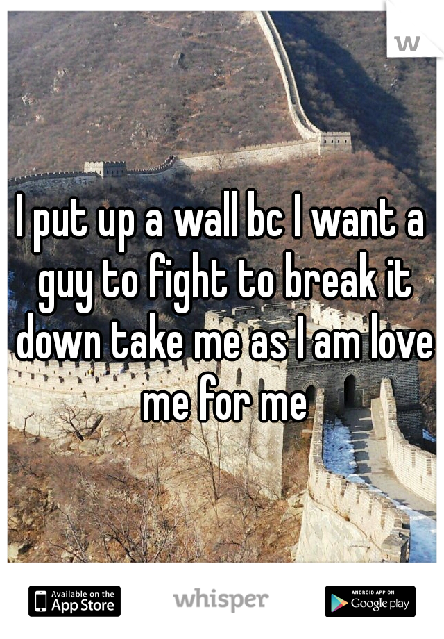 I put up a wall bc I want a guy to fight to break it down take me as I am love me for me