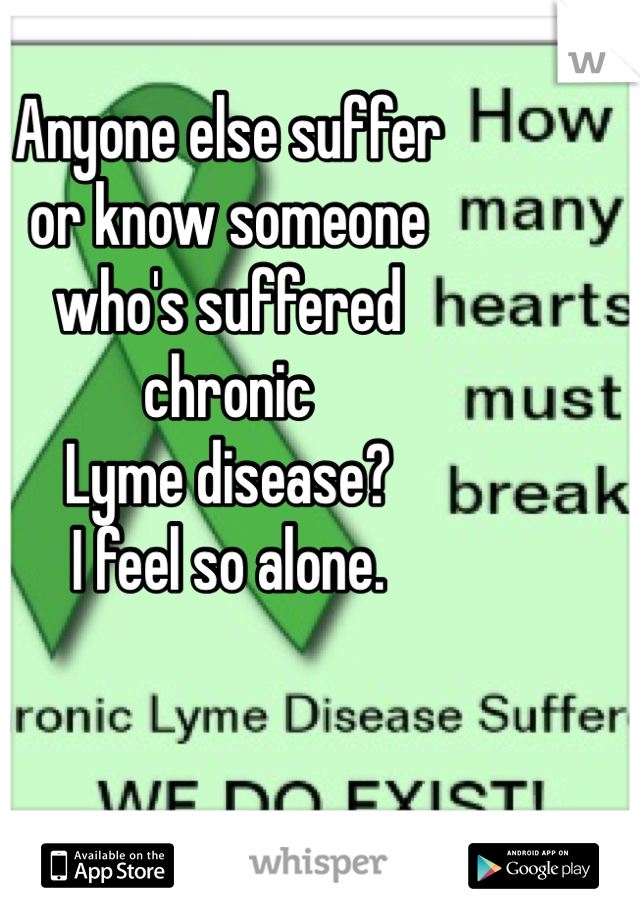 Anyone else suffer  or know someone  who's suffered  chronic  Lyme disease?  I feel so alone.