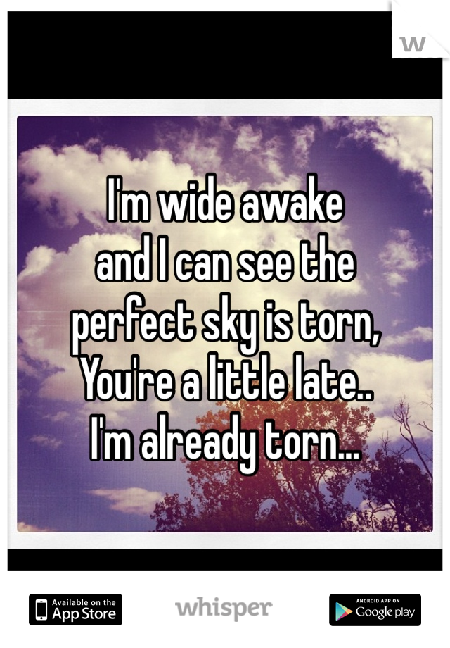 I'm wide awake  and I can see the  perfect sky is torn, You're a little late.. I'm already torn...