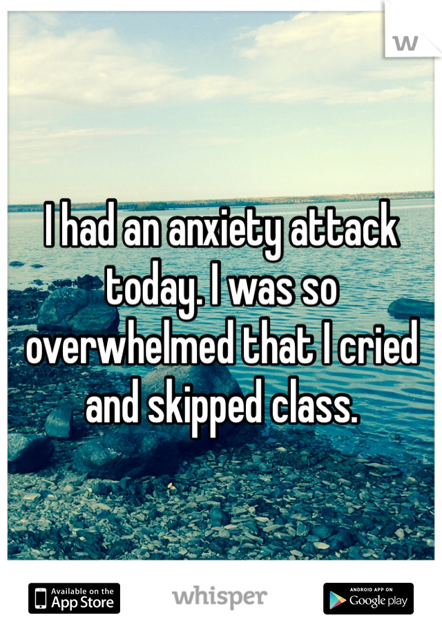 I had an anxiety attack today. I was so overwhelmed that I cried and skipped class.