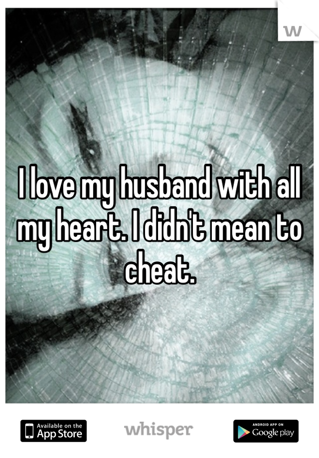 I love my husband with all my heart. I didn't mean to cheat.