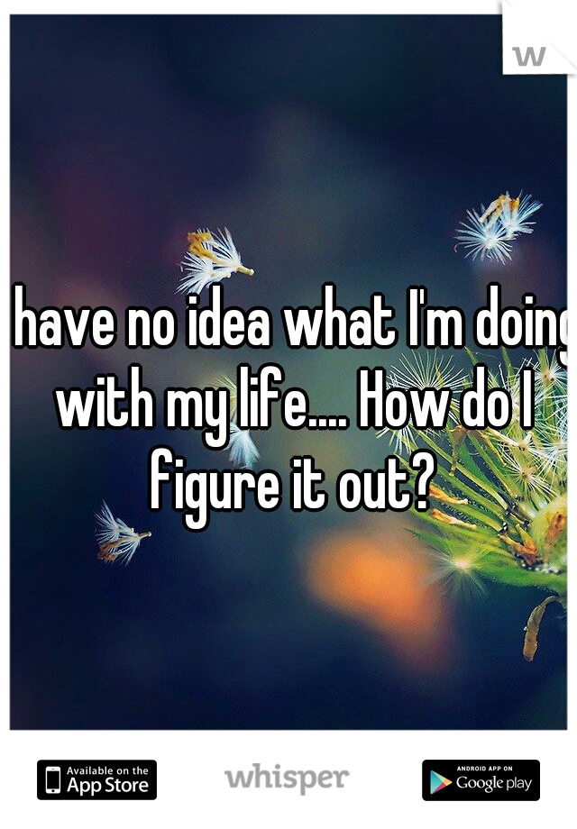 I have no idea what I'm doing with my life.... How do I figure it out?
