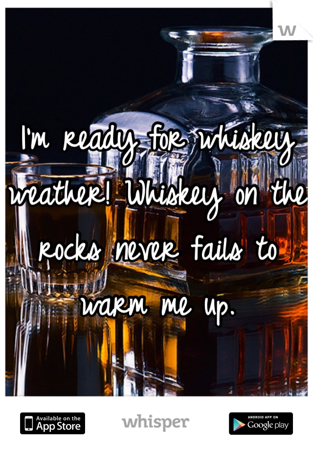 I'm ready for whiskey weather! Whiskey on the rocks never fails to warm me up.