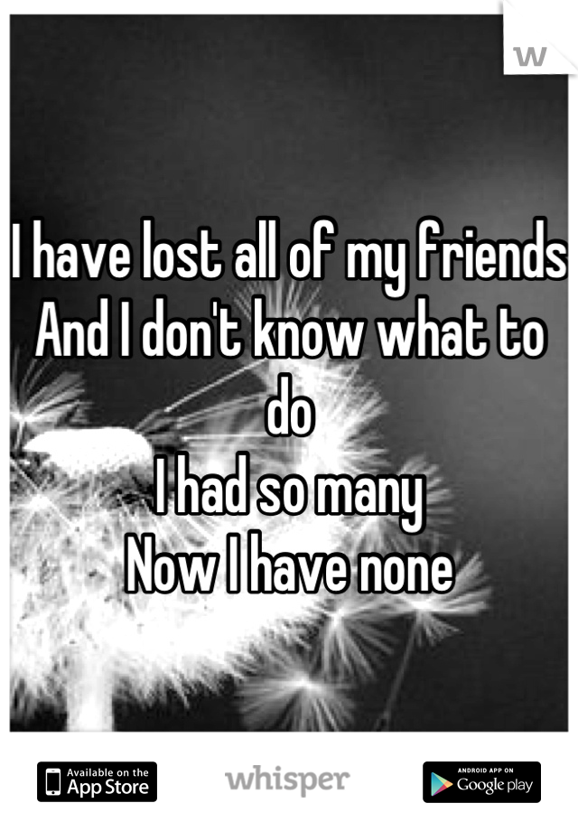 I have lost all of my friends And I don't know what to do I had so many Now I have none