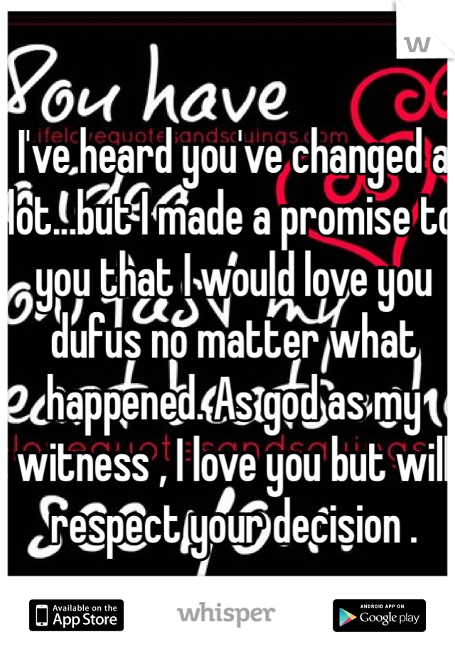 I've heard you've changed a lot...but I made a promise to you that I would love you dufus no matter what happened. As god as my witness , I love you but will respect your decision .