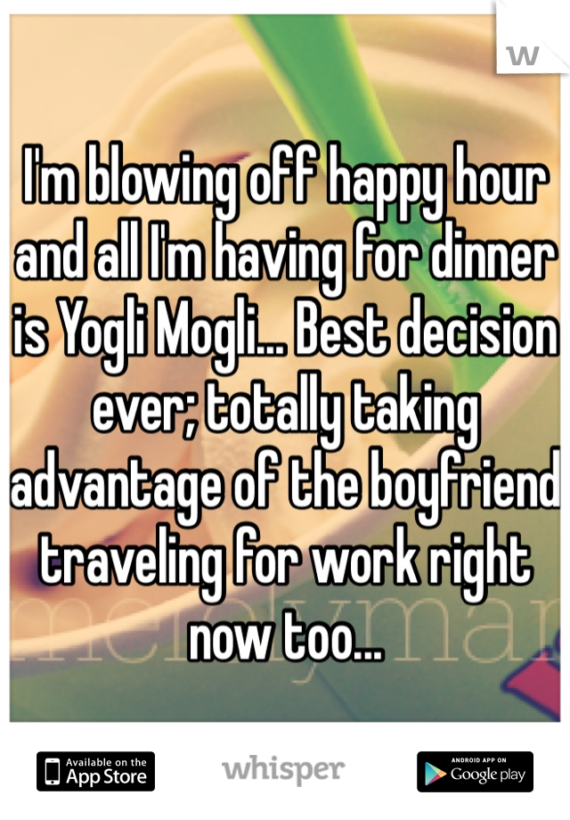 I'm blowing off happy hour and all I'm having for dinner is Yogli Mogli... Best decision ever; totally taking advantage of the boyfriend traveling for work right now too...