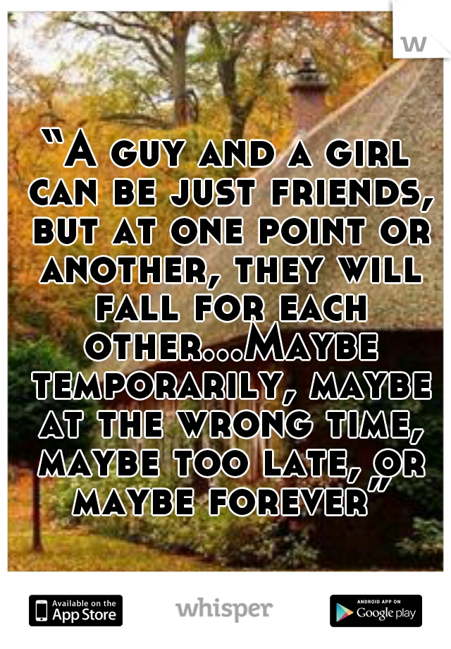 """""""A guy and a girl can be just friends, but at one point or another, they will fall for each other...Maybe temporarily, maybe at the wrong time, maybe too late, or maybe forever"""""""