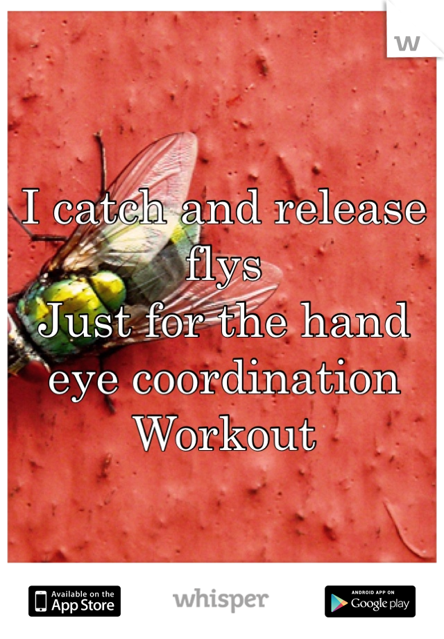 I catch and release flys  Just for the hand eye coordination Workout