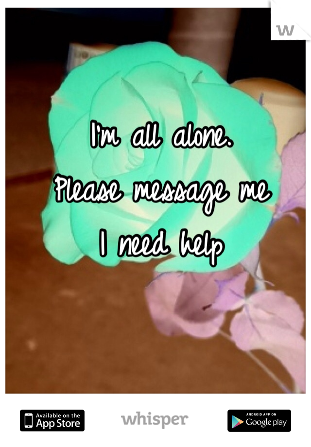 I'm all alone. Please message me  I need help