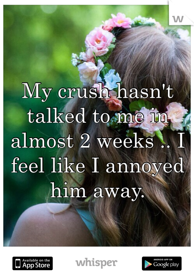 My crush hasn't talked to me in almost 2 weeks .. I feel like I annoyed him away.