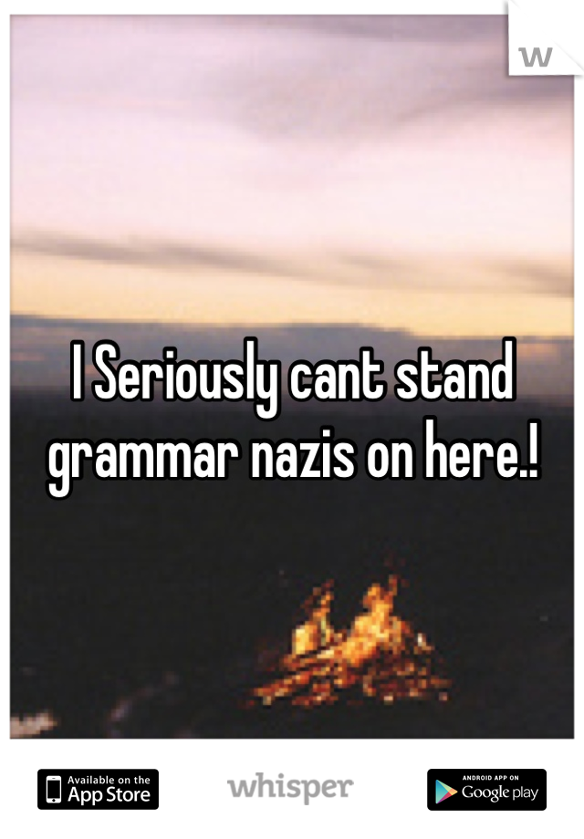 I Seriously cant stand grammar nazis on here.!