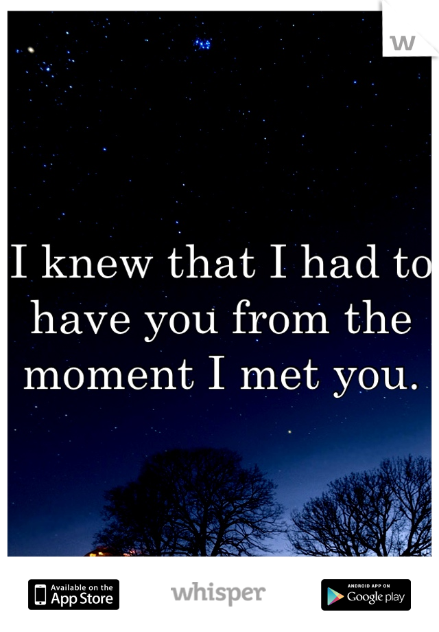 I knew that I had to have you from the moment I met you.