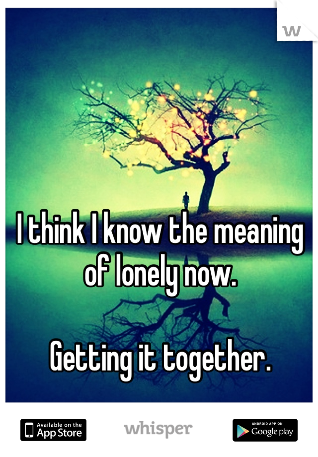 I think I know the meaning of lonely now.  Getting it together.