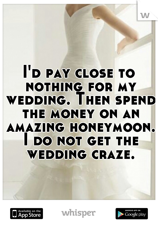 I'd pay close to nothing for my wedding. Then spend the money on an amazing honeymoon. I do not get the wedding craze.