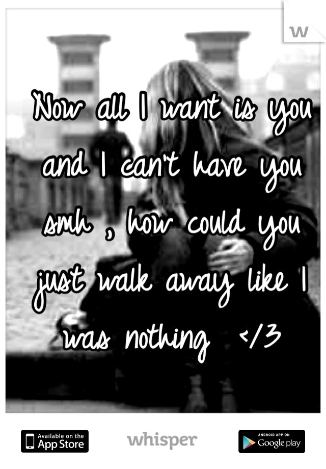 Now all I want is you and I can't have you smh , how could you just walk away like I was nothing  </3
