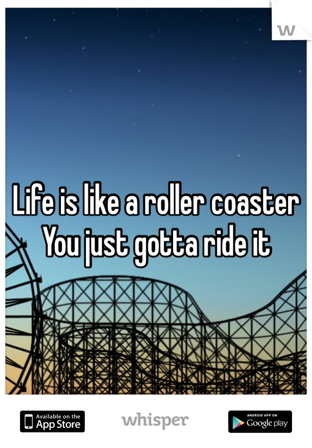 Life is like a roller coaster You just gotta ride it