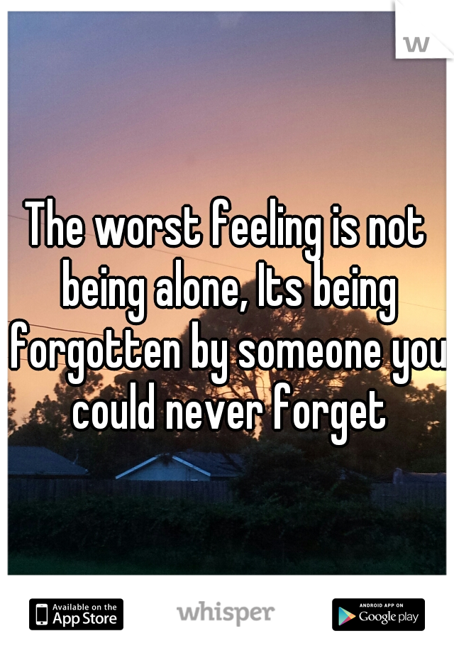 The worst feeling is not being alone, Its being forgotten by someone you could never forget