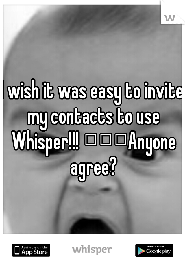 I wish it was easy to invite my contacts to use Whisper!!!    Anyone agree?