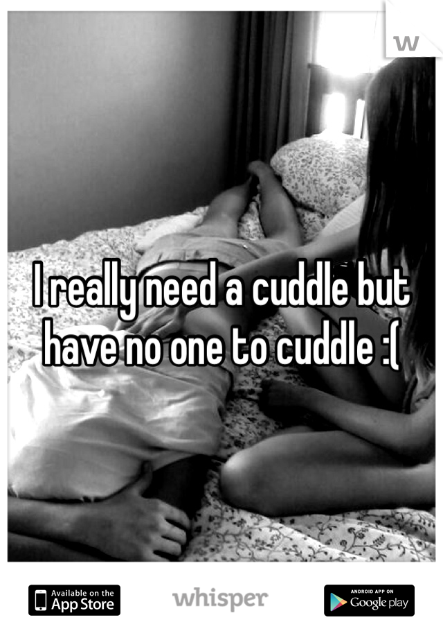 I really need a cuddle but have no one to cuddle :(