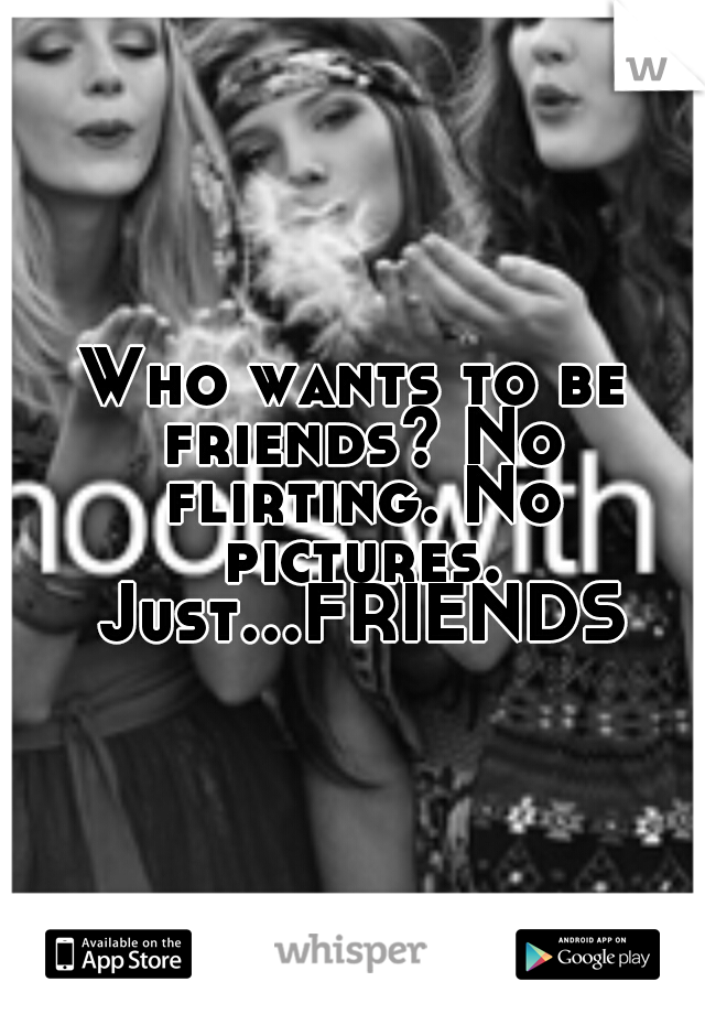 Who wants to be friends? No flirting. No pictures. Just...FRIENDS