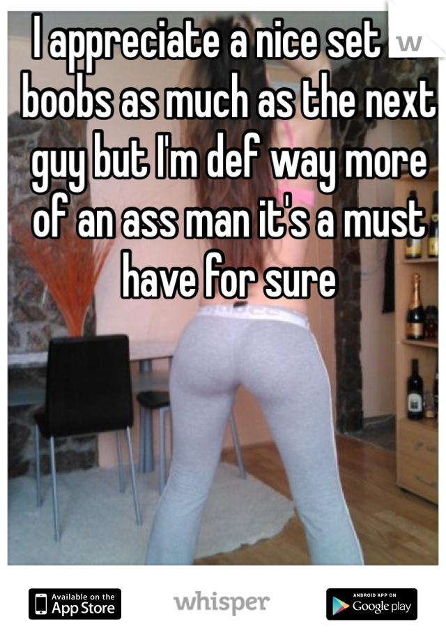 I appreciate a nice set of boobs as much as the next guy but I'm def way more of an ass man it's a must have for sure