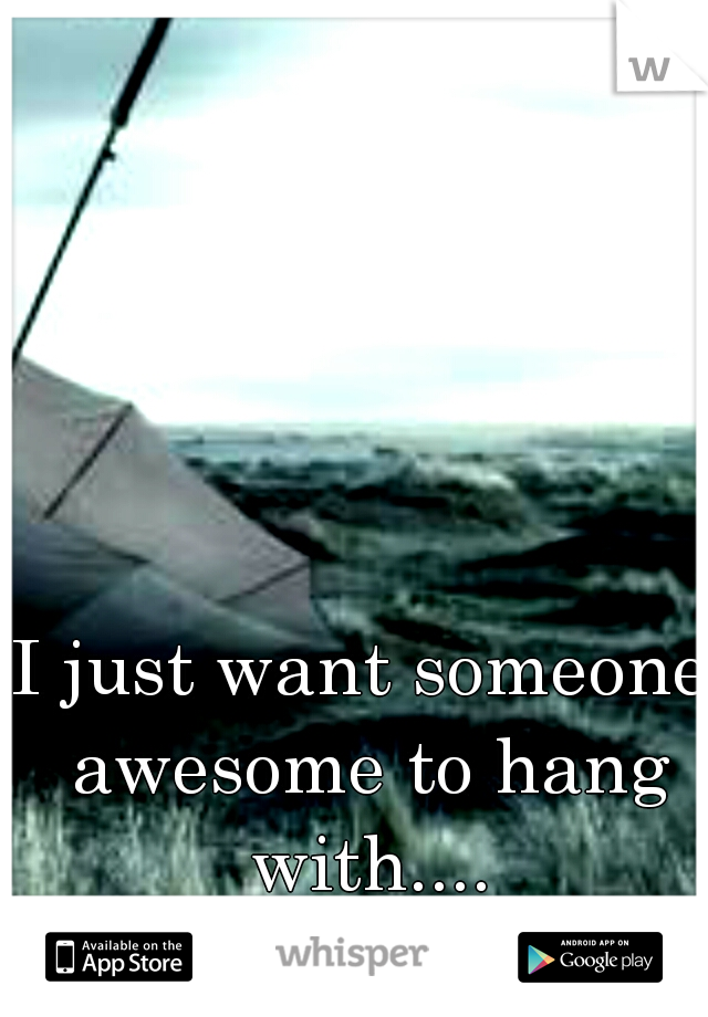 I just want someone awesome to hang with....