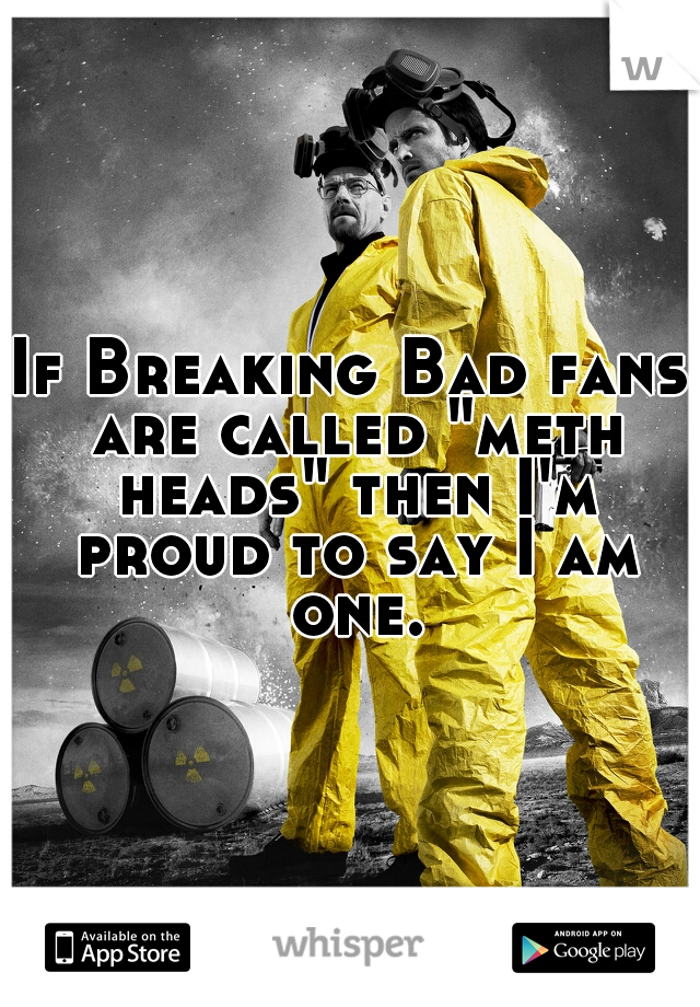 """If Breaking Bad fans are called """"meth heads"""" then I'm proud to say I am one."""