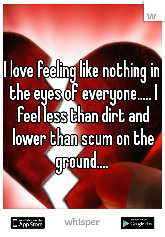 I love feeling like nothing in the eyes of everyone..... I feel less than dirt and lower than scum on the ground....