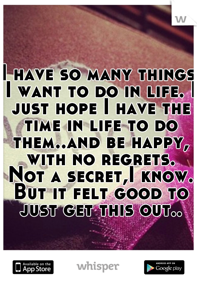 I have so many things I want to do in life. I just hope I have the time in life to do them..and be happy, with no regrets. Not a secret,I know. But it felt good to just get this out..