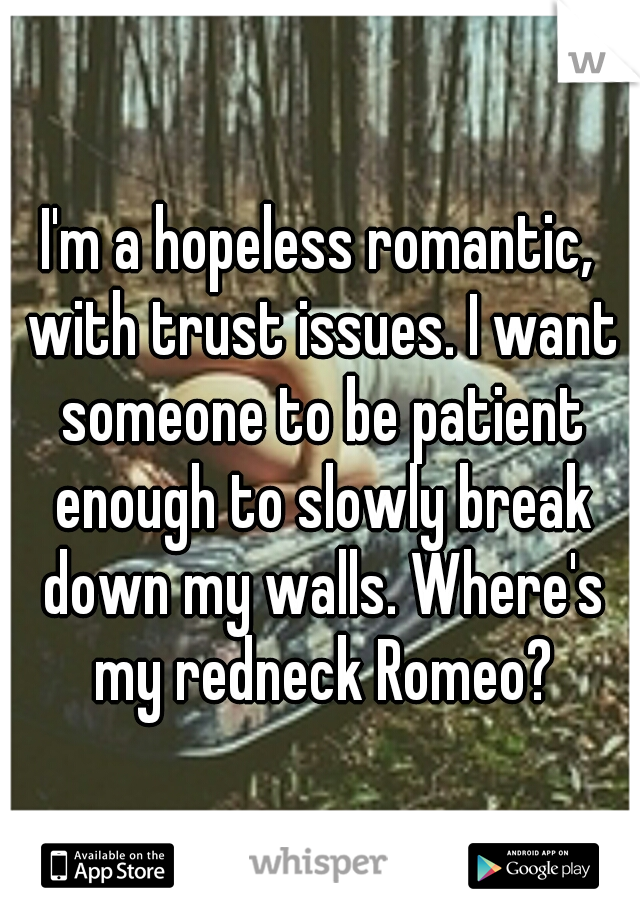 I'm a hopeless romantic, with trust issues. I want someone to be patient enough to slowly break down my walls. Where's my redneck Romeo?