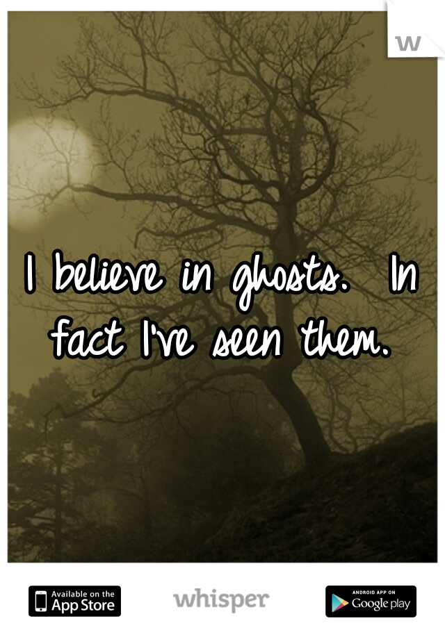 I believe in ghosts.  In fact I've seen them.