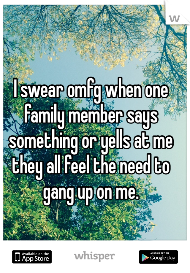 I swear omfg when one family member says something or yells at me they all feel the need to gang up on me.