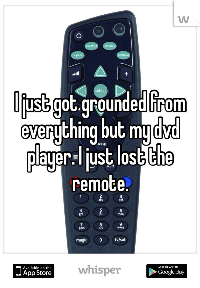 I just got grounded from everything but my dvd player. I just lost the remote.