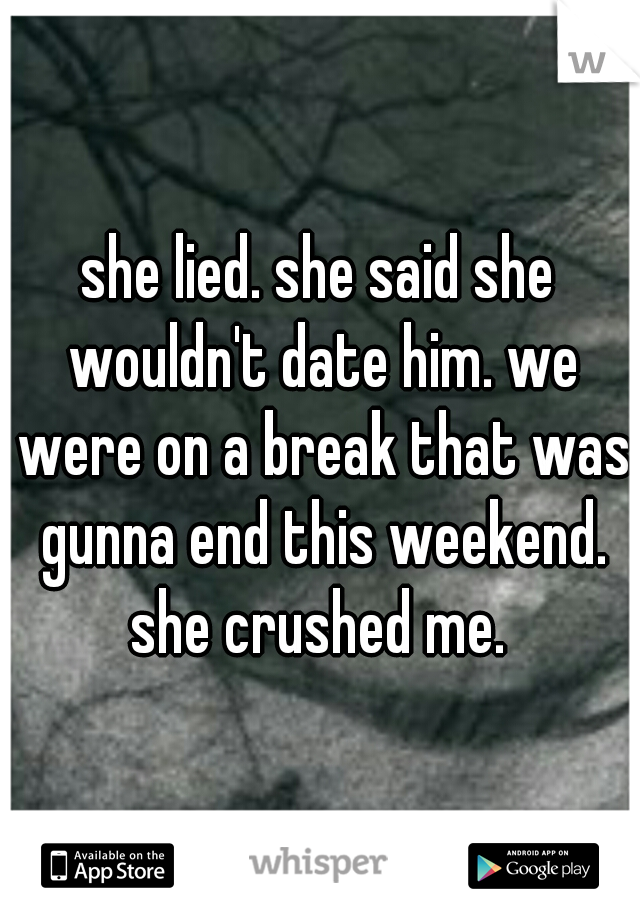 she lied. she said she wouldn't date him. we were on a break that was gunna end this weekend. she crushed me.