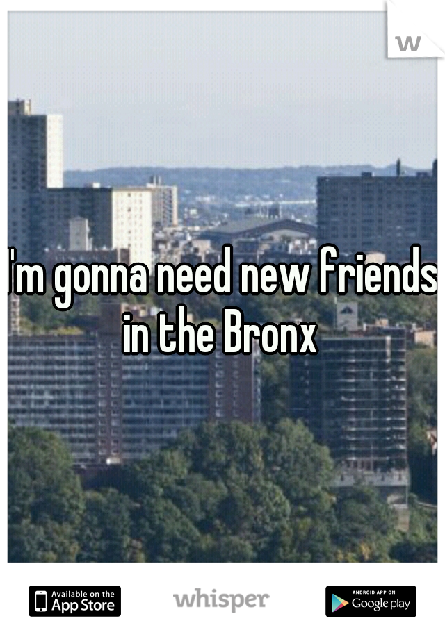 I'm gonna need new friends in the Bronx