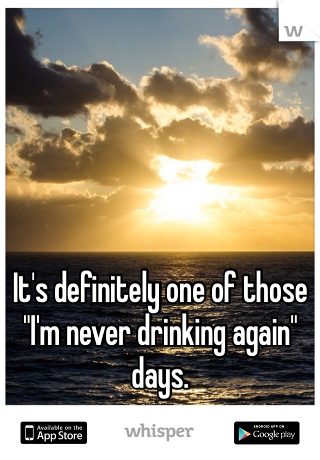 """It's definitely one of those """"I'm never drinking again"""" days."""