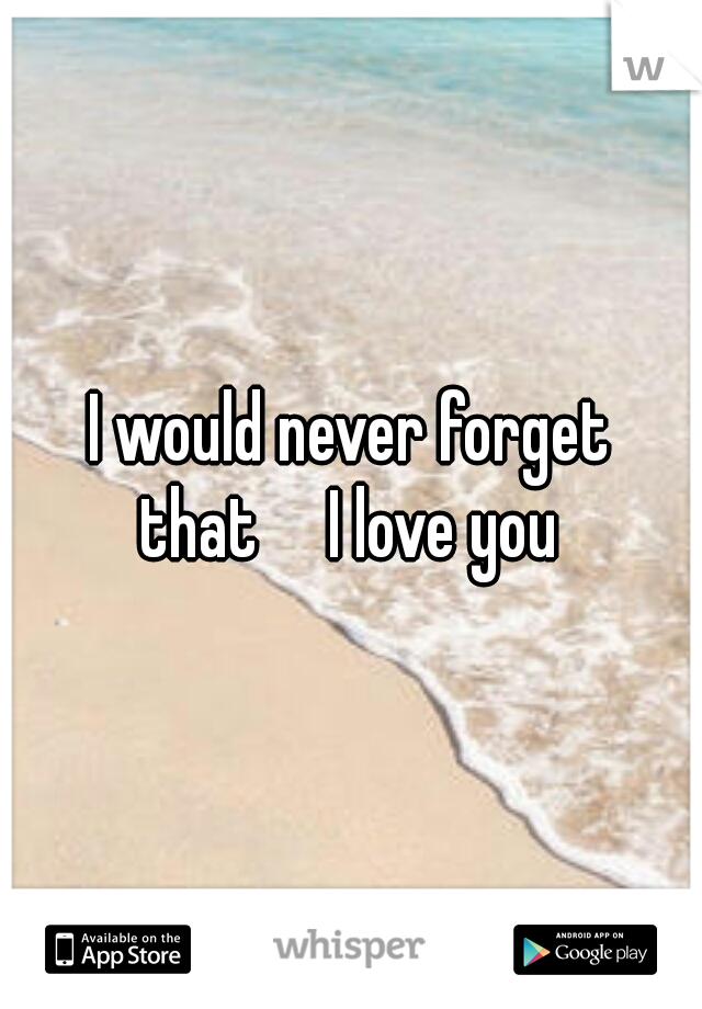 I would never forget that  I love you
