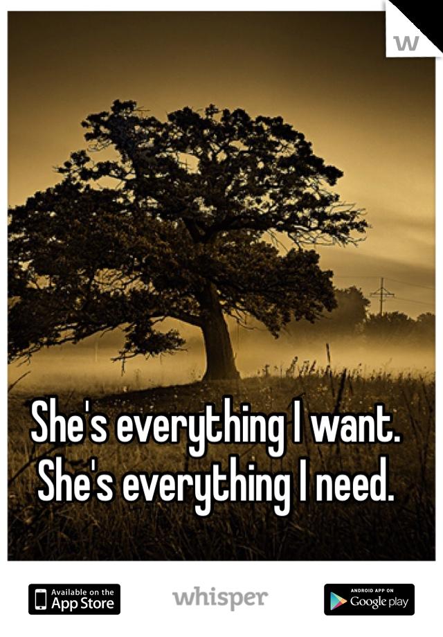 She's everything I want.  She's everything I need.