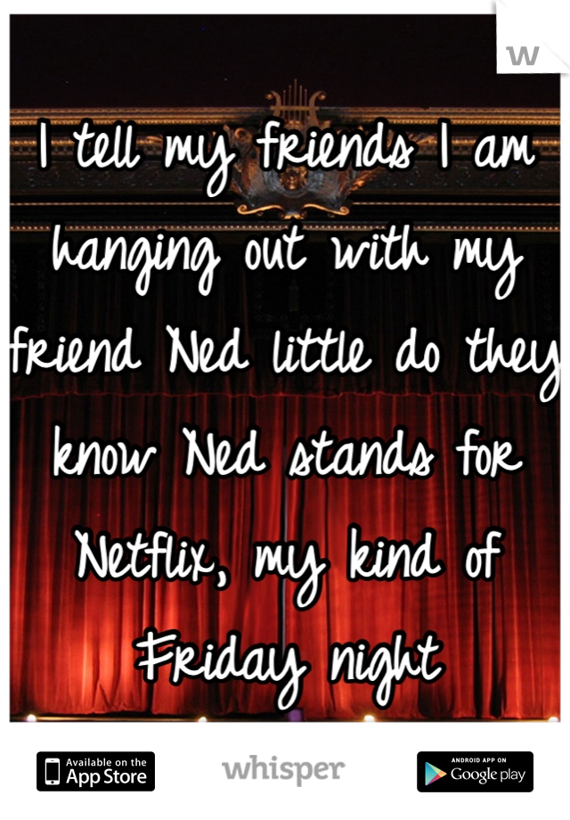I tell my friends I am hanging out with my friend Ned little do they know Ned stands for Netflix, my kind of Friday night