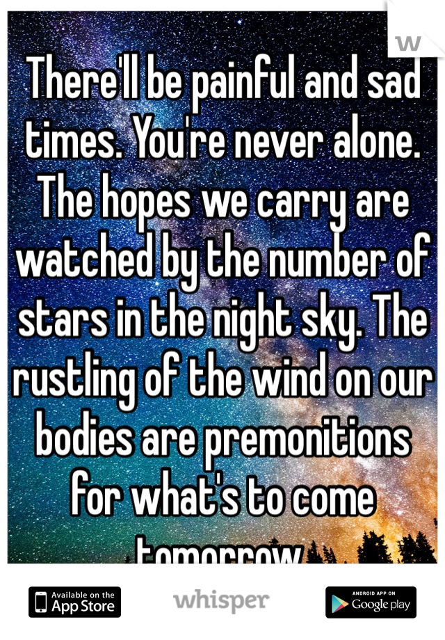 There'll be painful and sad times. You're never alone. The hopes we carry are watched by the number of stars in the night sky. The rustling of the wind on our bodies are premonitions for what's to come tomorrow.