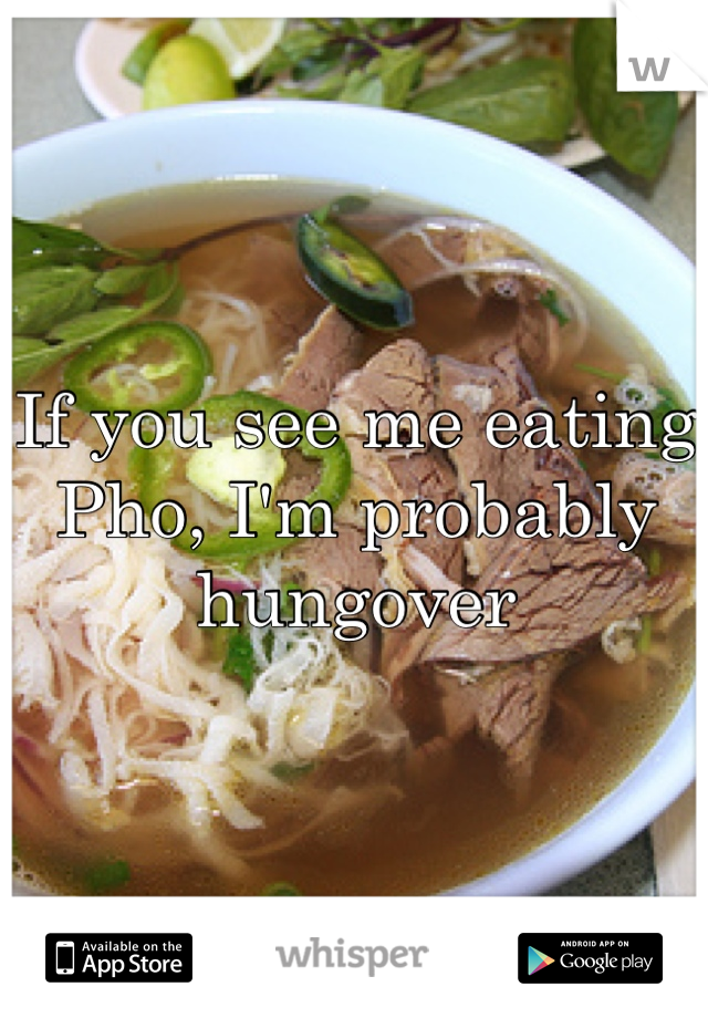 If you see me eating Pho, I'm probably hungover