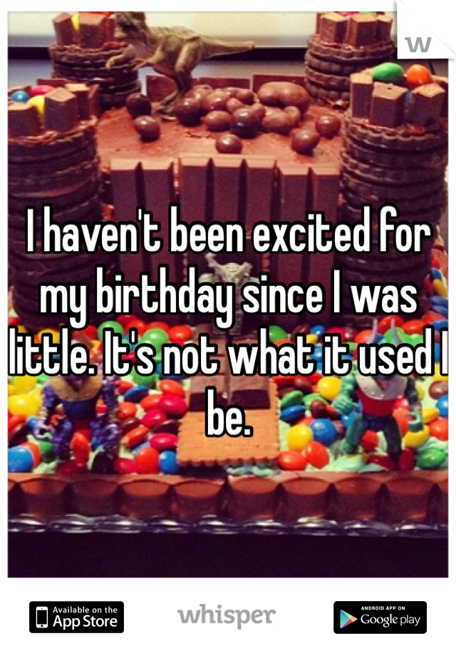 I haven't been excited for my birthday since I was little. It's not what it used I be.