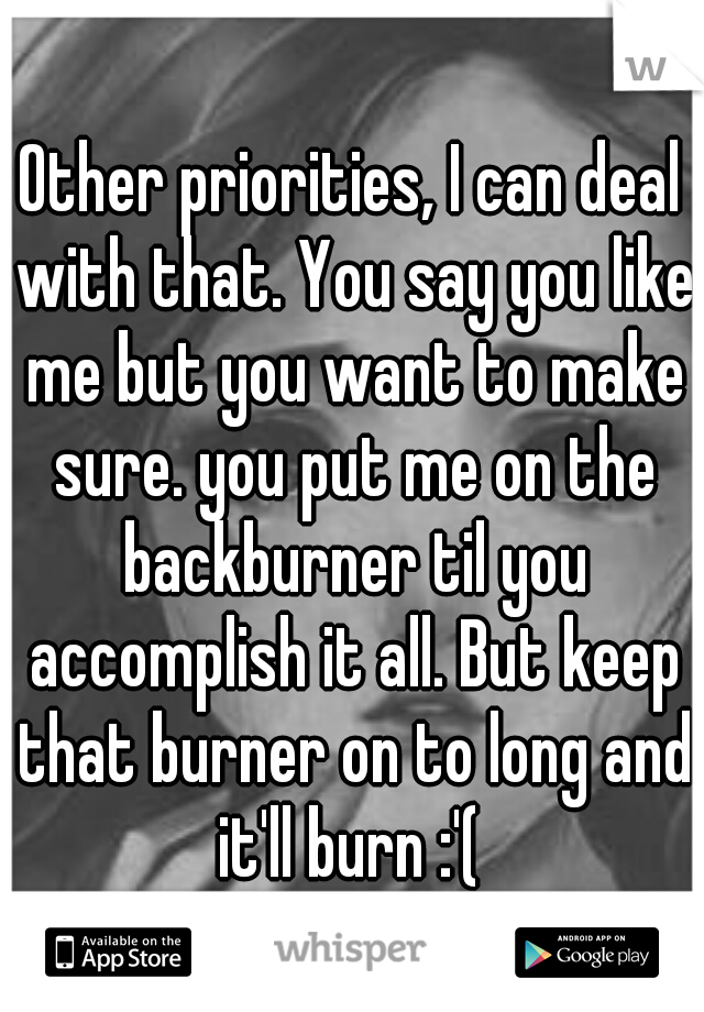 Other priorities, I can deal with that. You say you like me but you want to make sure. you put me on the backburner til you accomplish it all. But keep that burner on to long and it'll burn :'(
