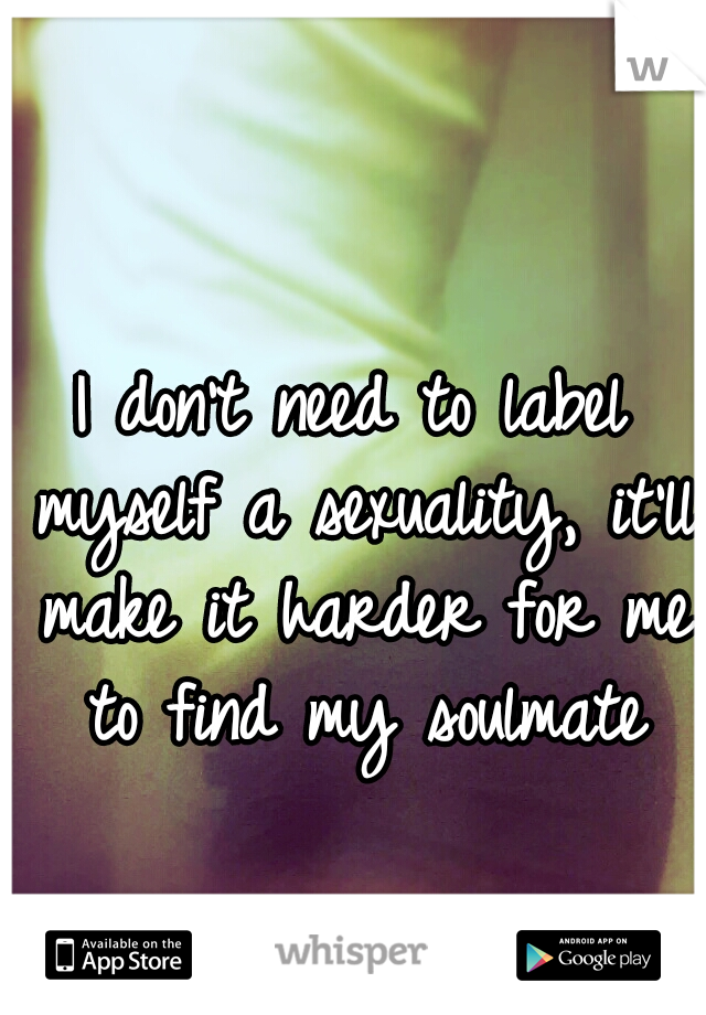 I don't need to label myself a sexuality, it'll make it harder for me to find my soulmate