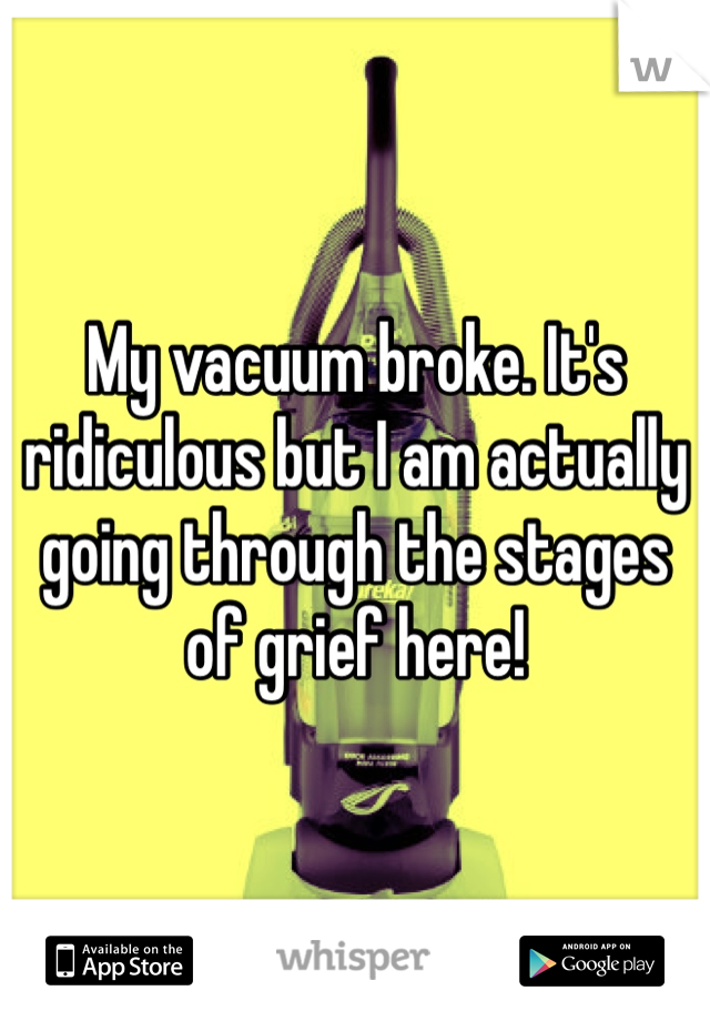 My vacuum broke. It's ridiculous but I am actually going through the stages of grief here!