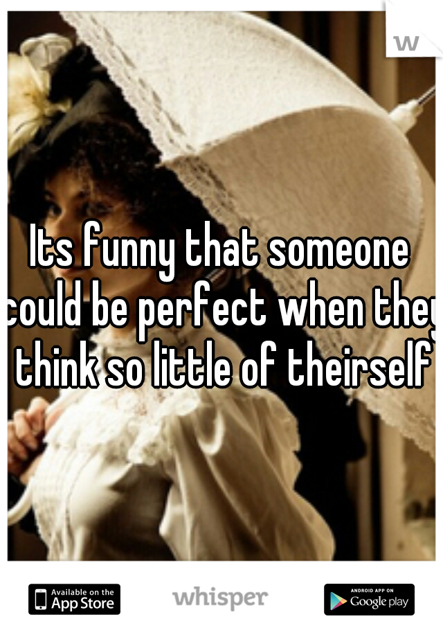 Its funny that someone could be perfect when they think so little of theirself
